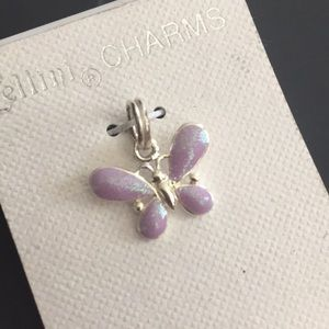Sterling silver charm purple shimmer butterfly